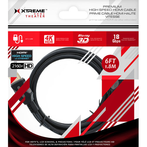 XT-XHV11024BLK Xtreme 6 ft Premium High Speed HDMI Cable