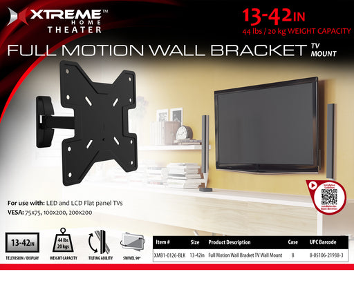 XT-XMB10126BLK Xtreme Full Motion TV Wall Mount fro 13 - 42 inch TV's up to 44 lbs