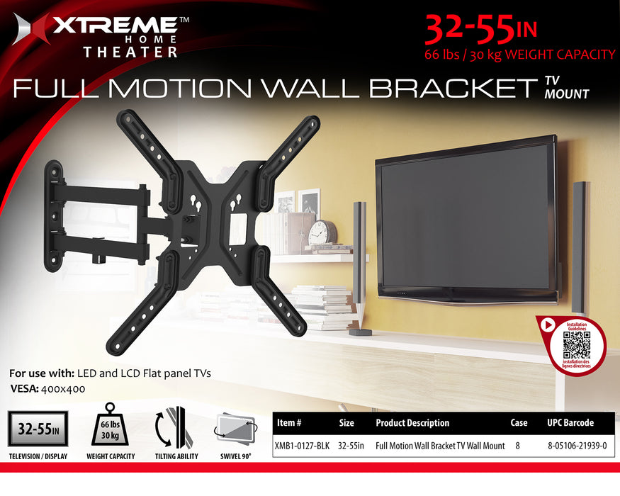 XT-XMB10127BLK  Xtreme Full motion TV Wall Mount For 32-55 inch TV's 66 lbs