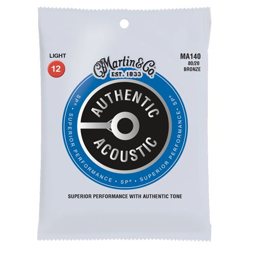 MA140-U Martin Authentic 80/20 Bronze Acoustic Light Gauge Strings