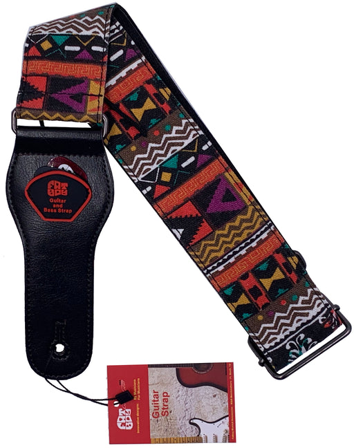 DUNLOP Poly Woven Guitar Strap Red Leather Ends DUN-D07-01RD