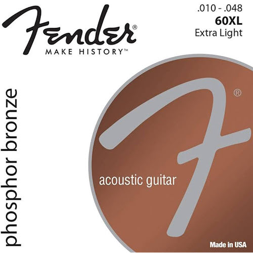 0730060402 Fender 60XL Phosphore Bronze Acoustic Guitar Strings Extra Light Gauge  .010 - .048 C12
