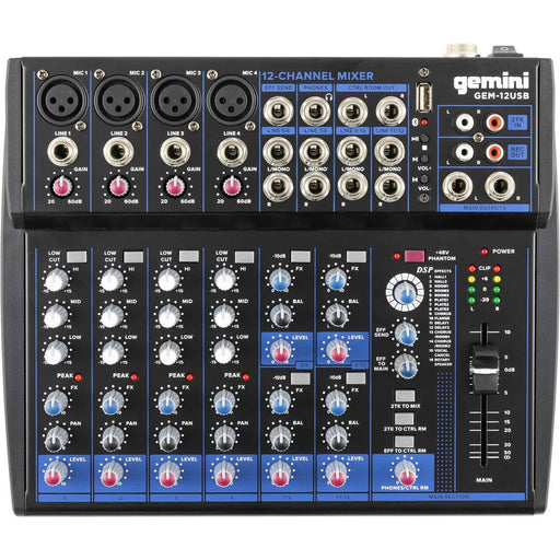 GEM-12USB  Gemini Compact 12 Channel Bluetooth Mixer