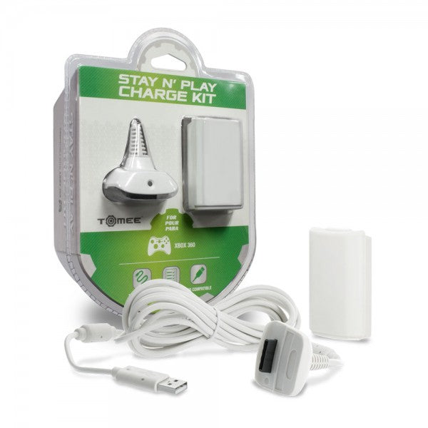 M05386WH XBOX360 Battery Charge Cable Kit White