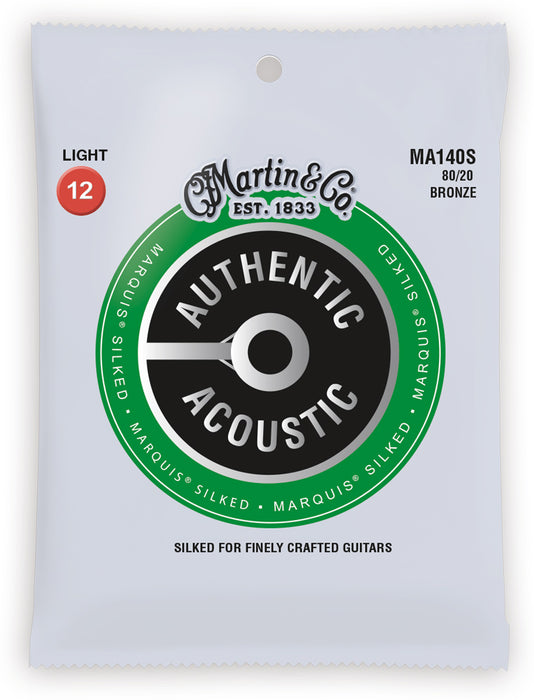MA140S-U Martin Silked 80/20 Bronze Light Gauge Acoustic Strings