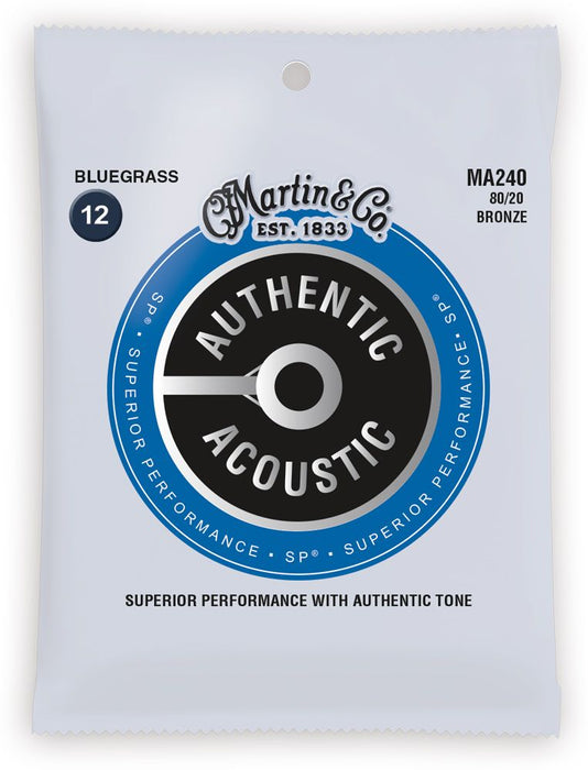 MA240-U Martin Authentic 80/20 Bronze Bluegrass Acoustic Strings