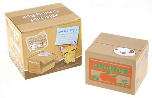 MPT602 Coin Bank- Cute Kitty Cat in an Orange Crate