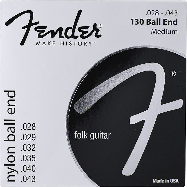 0730130400 FenderMedium Nylon Classical Folk Guitar Strings, Ball End 100 .028-.043