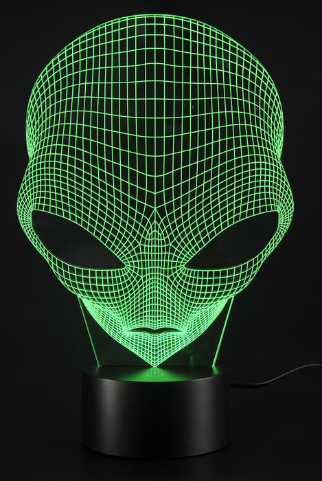 TG3048 3D Illusion LED Alien Head Lamp 7 Colors