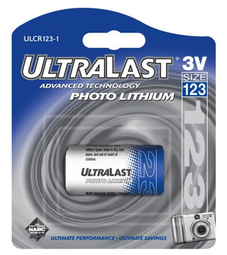 UL1231 Ultralast  CR123A  3 volt 1 Pack Non-rechargeable Blister Card