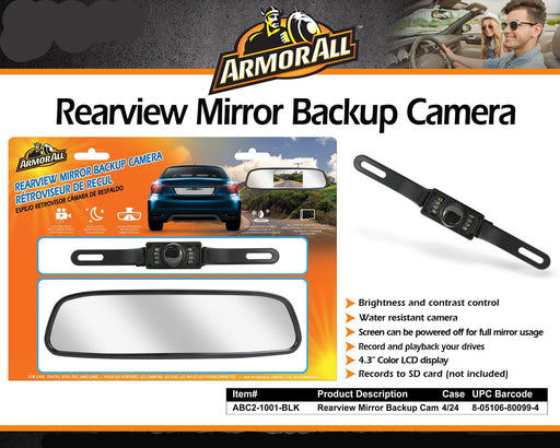 XT-ABC21001BLK ARMOR ALL Rearview Mirror Backup Cam