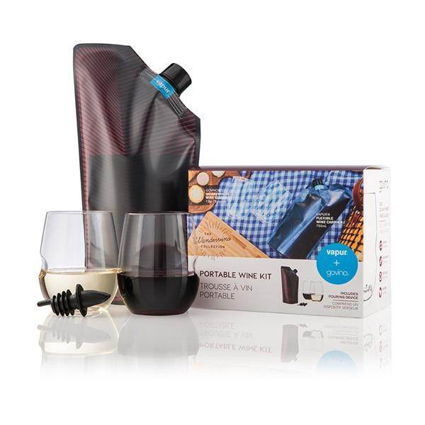 The Wandervino Collection (Vintage Wine Carrier + Reusable Glasses)