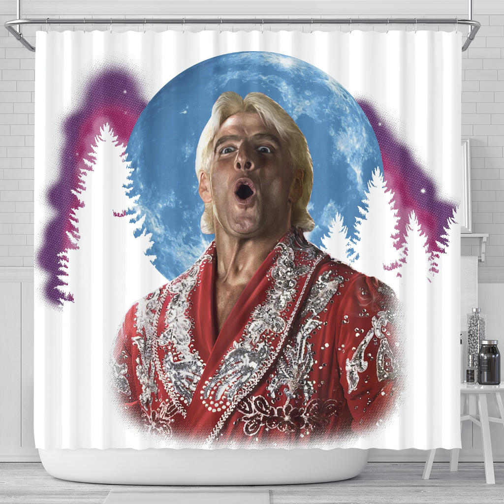 WOOOOO At The Moon Shower Curtain