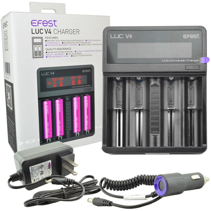 Efest LUC V4 - LCD Screen - 4 Bay Battery Charger vape shop pros wholesale