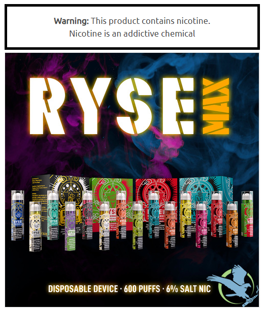 Ryse MAX Disposable E-Cigs 6% (10-Pack)