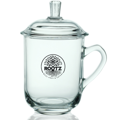 Rootz Tea Glass Cup w/ lid