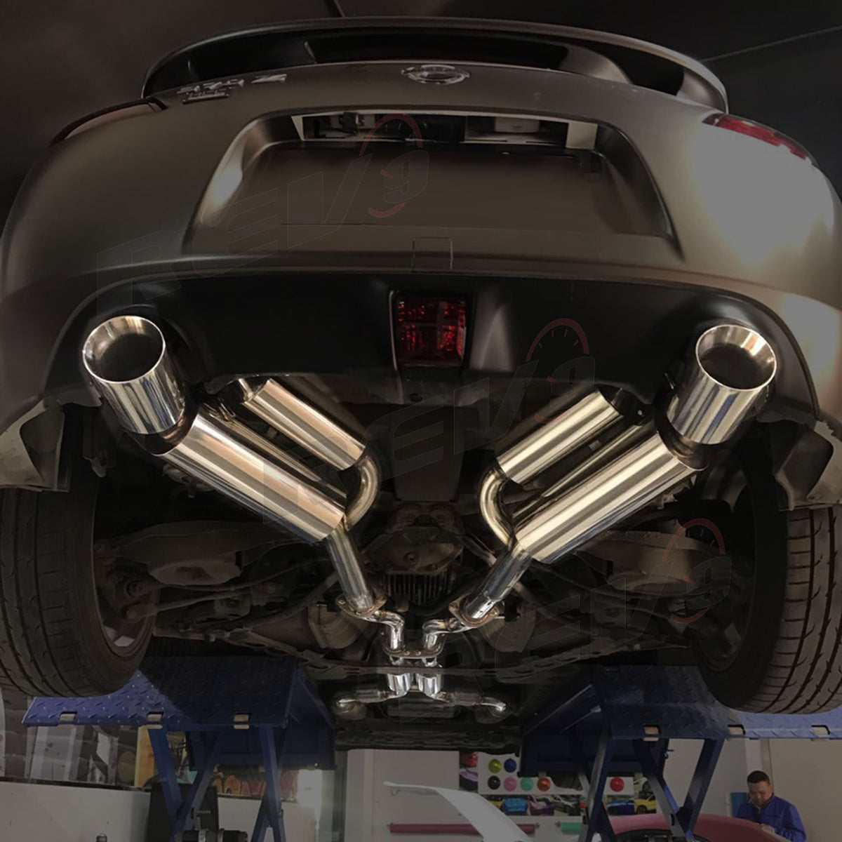 Nissan 370Z VQ37 Dual Cat-Back Exhaust with Double Walled Muffler Tip,  Stainless Steel