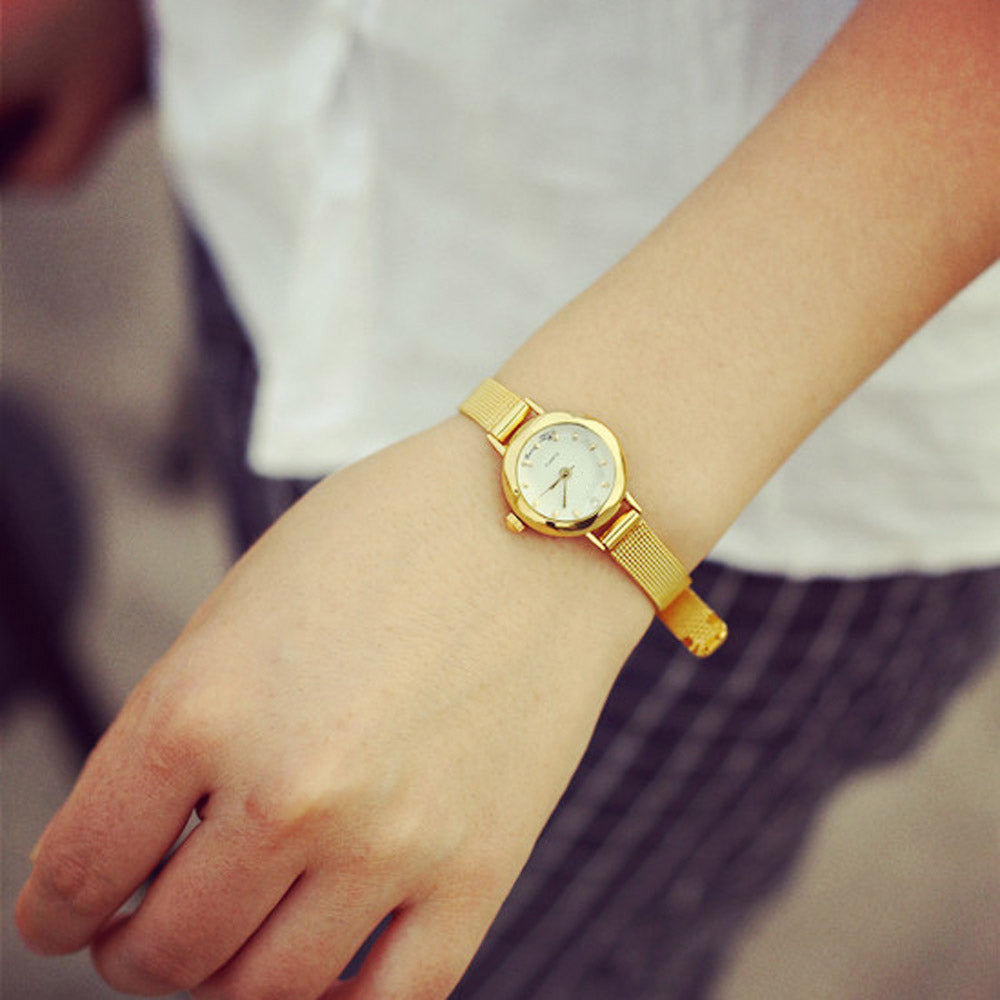 Elegant Rhinestone Gold Luxury Watch for Women