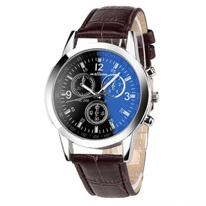 Malloom Luxury Blue Quartz Business Watch With Leather Wristband