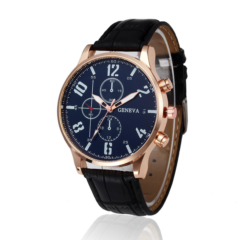 Handsome Business Design Leather Band Quartz Watch