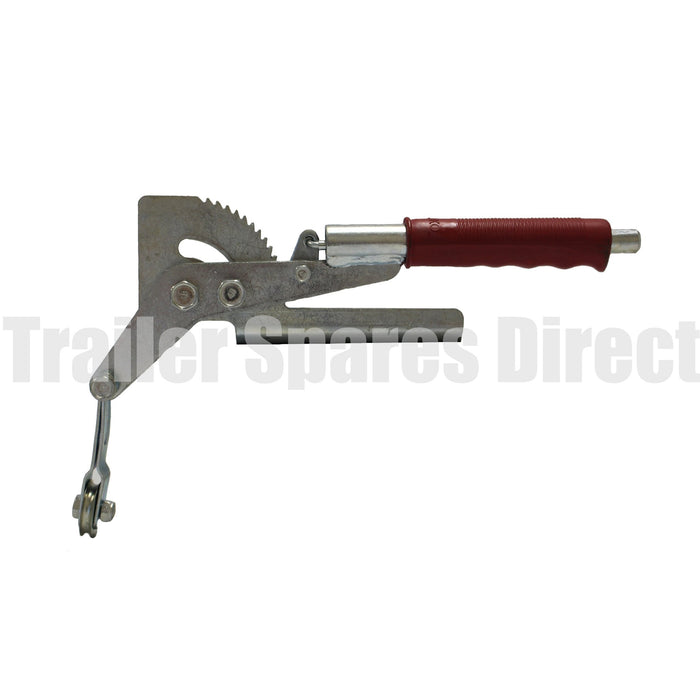 Handbrake assembly with cable pulley, side mount press button ratchet type