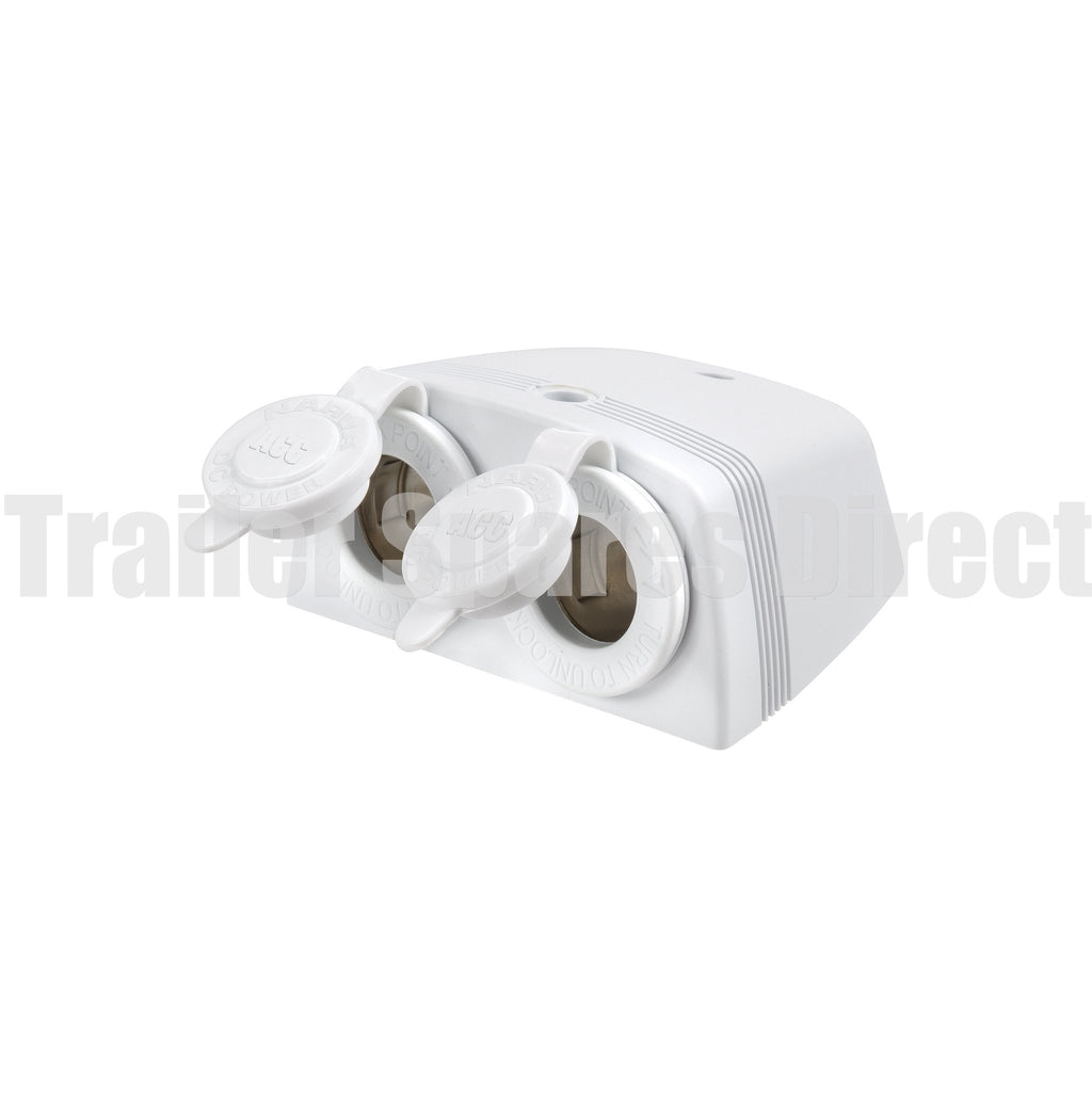 narva twin surface mount sockets white