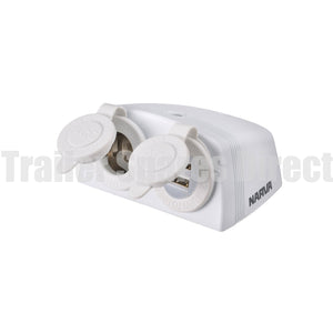 narva twin surface mount dual usb socket white