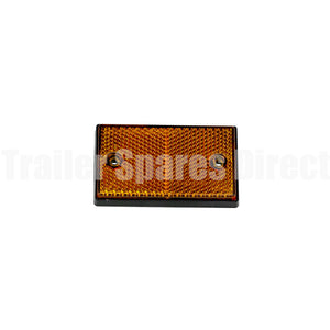 Reflector 75 x 45mm rectangle screw or adhesive - Amber
