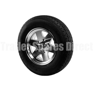 Trailer Rim and Tyre - 14 inch HT Holden Koya Alloy