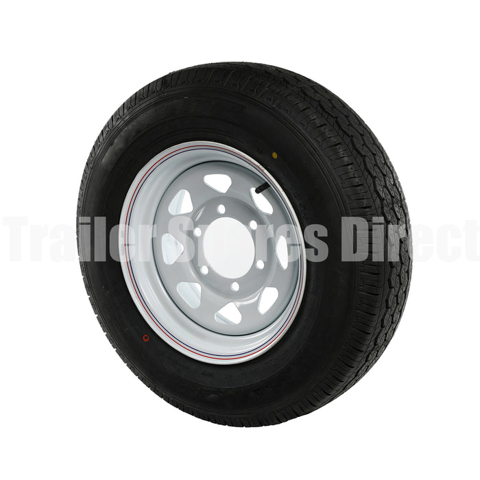 Trailer Rim and Tyre - 15 inch 6 Stud White Finish