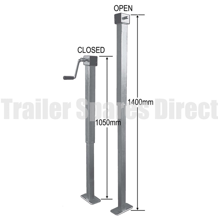 Side winding adjustable stand with loose handle - 1.4m height - capacity 1000kg