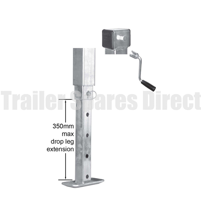 Heavy-duty side winding adjustable stand with drop leg and loose handle - 70mm square - 1500kg
