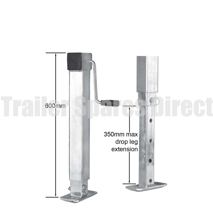Heavy-duty side winding adjustable stand with drop leg - 70mm square - capacity 1500kg