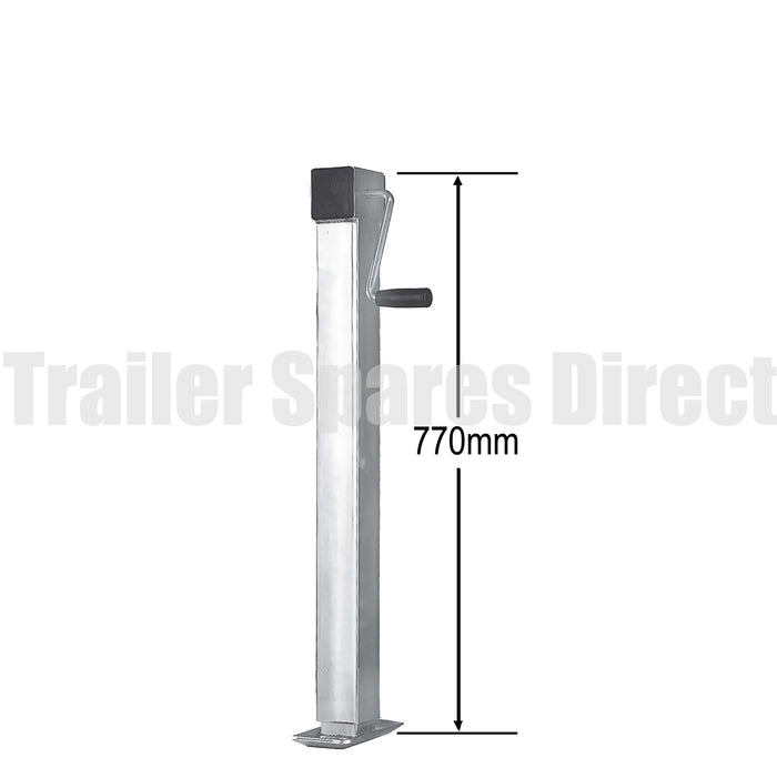 Heavy-duty side winding adjustable stand with loose handle -70mm square - capacity 2000kg