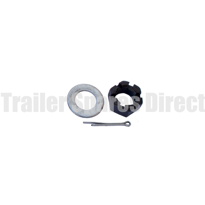 Axle nut, washer and split pin 1 inch coarse thread