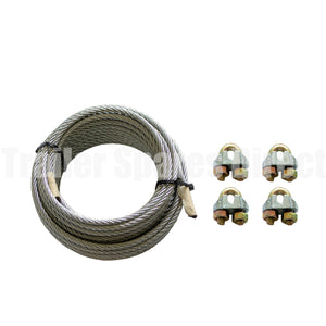 10 metre long brake cable wire kit with clamps