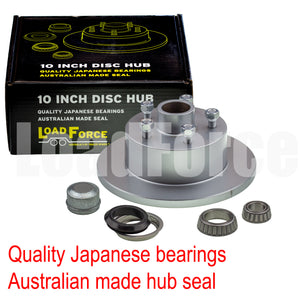 LoadForce trailer disc brake hub 10 x 5/8 inch Commodore 5 stud LM (Holden) bearing dacromet