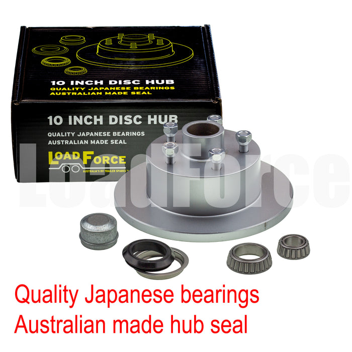 LoadForce trailer disc brake hub 10 x 5/8 inch HQ 5 stud slimline (Ford) bearing galvanised