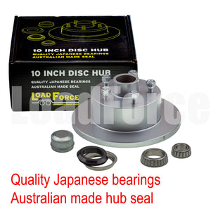 LoadForce disc brake hub 10 x 5/8 inch HT 5 stud LM (Holden) bearing galvanised