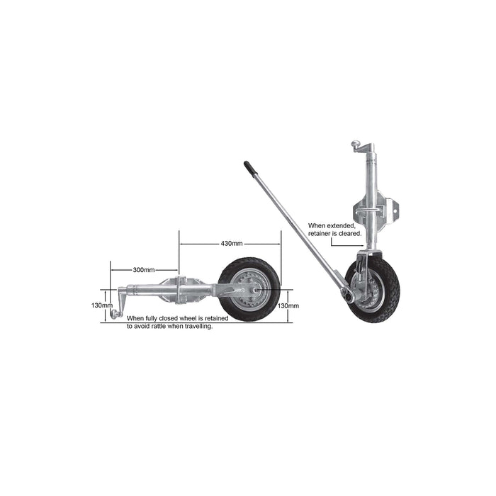 10 inch 'EASYMOVER' ratchet driven jockey wheel with swing-up bracket