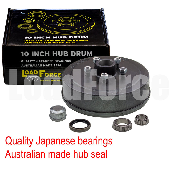 LoadForce hub drum 10 x 2.25 inch Commodore 5 stud with slimline (Ford) bearing