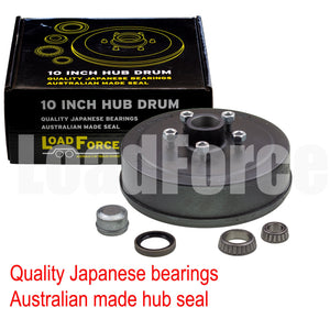 LoadForce Hub drum 10 x 2.25 inch HQ 5 stud with LM (Holden) bearing