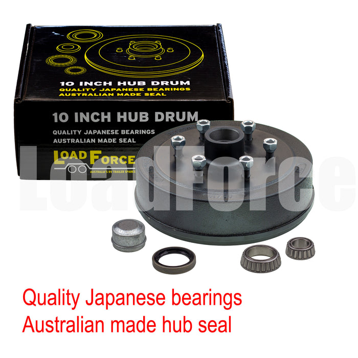 LoadForce hub drum 10 x 2.25 inch 6 stud with LM (Holden) bearing