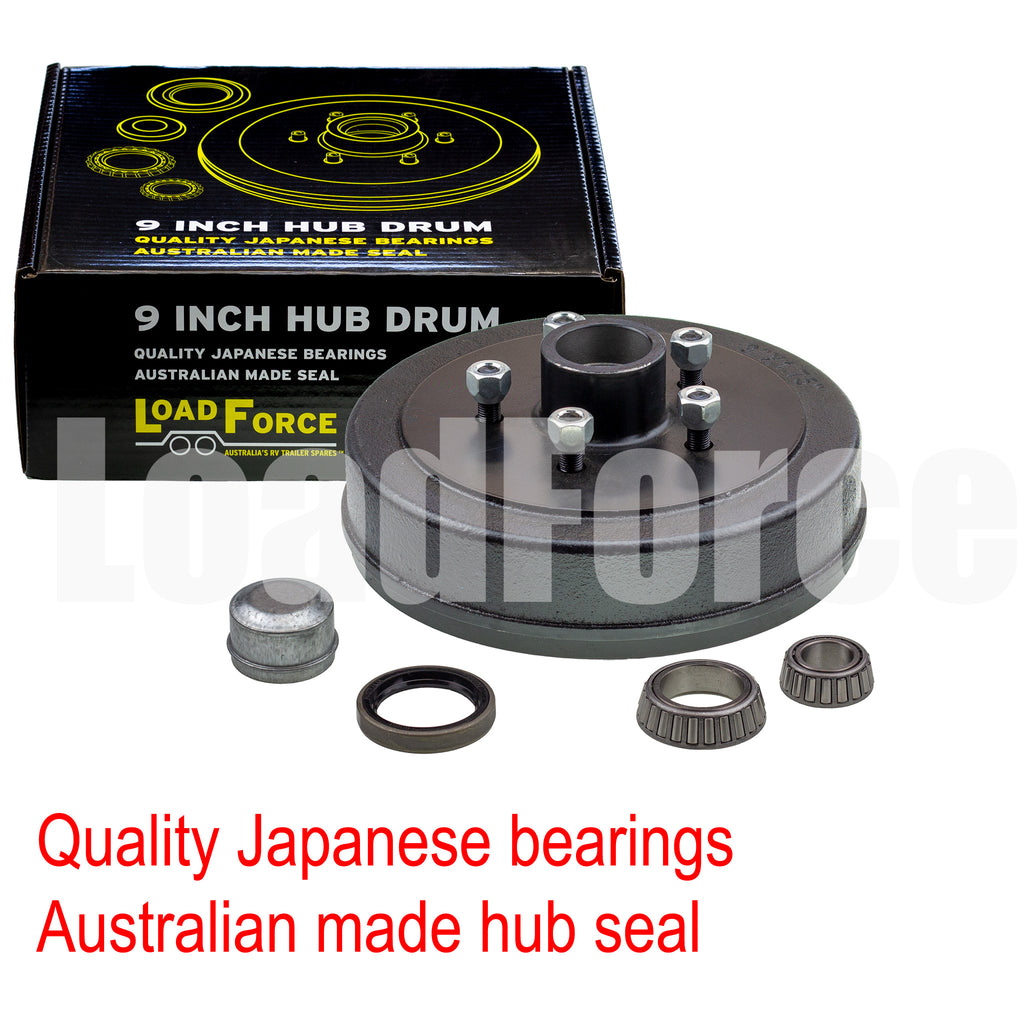 Hub drum 9 x 1.75 inch Commodore 5 stud with LM (Holden) bearing