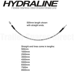 1000mm HydraLine brake hose - straight end