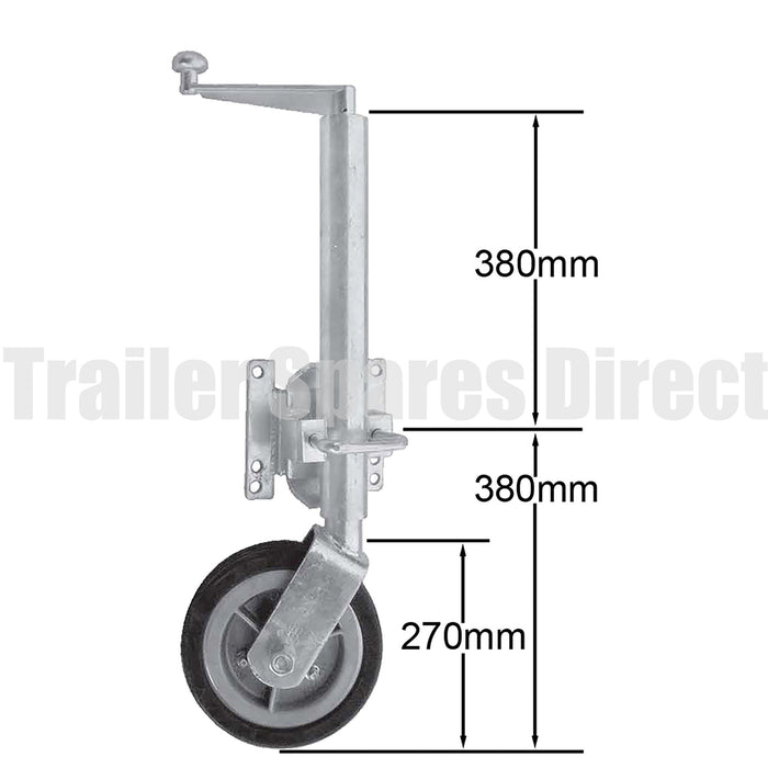 10 inch jockey wheel swing-up u-bolt 1250kg load