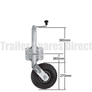10 inch jockey wheel pneumatic tyre with swivel bracket fixing with u-bolts