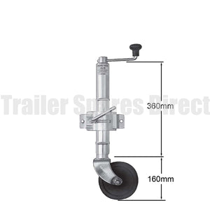 6 inch jockey wheel solid rubber with clamp