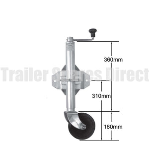6 inch jockey wheel solid rubber with swivel bracket