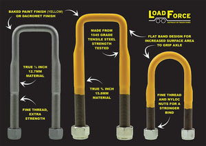 LoadForce U-bolts 5/8inch and 1/2inch Yellow Dacromet